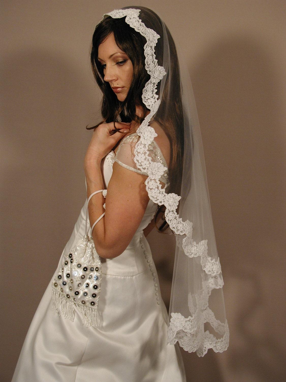Wedding Mantilla Veil mantilla veil 42 fingertip length lace veil