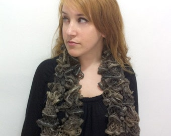 Ruffle Scarf browns Hand knitted - IN SALE