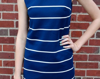 Couture Blue Nautical Striped Vintage Dress- Size Small