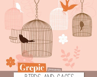 "Photoshop brush birdcages: ""BIRDS AND CAGES"" 14 high quality birdcages and birds photoshop brushes with flowers, twigs, cages and birds"