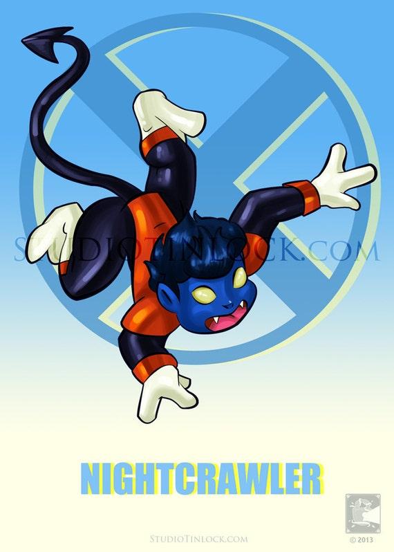 """Items similar to X-Babies (X-Men) - 5x7"""" Nightcrawler ... X Babies Nightcrawler"""