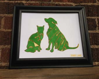 The Beach Boys - Pet Sounds - 8x10 Hand Drawn Illustration Print - Dog and Cat