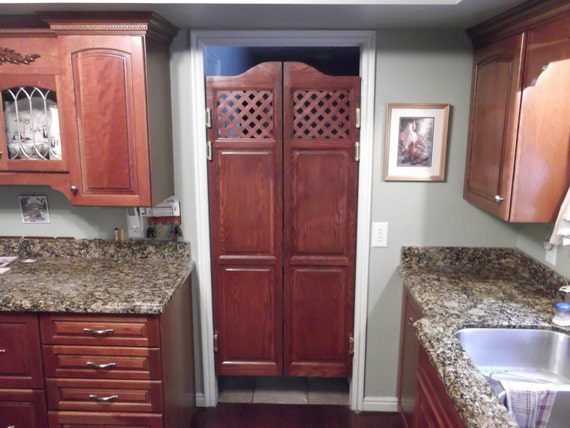 Custom oak full length swinging interior doors cafe doors for Interior swinging kitchen doors