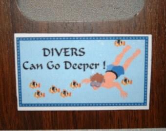 Divers Refrigerator Magnet (Business Card Size)