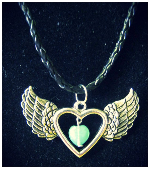 Handmade Leather Necklace with Silver Pendant and Green Aventurine Heart by IreneDesign2011