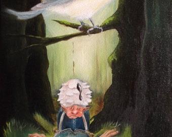 Blue tit korrigan oil on canvas original 24 X 35