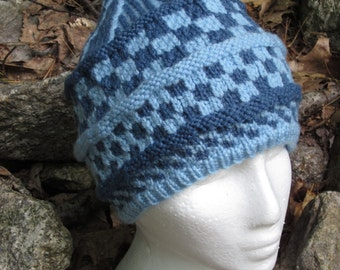 Checkmate Knit Cap ∙ Winter Hat ∙ Blue ∙ Checker ∙ Handmade