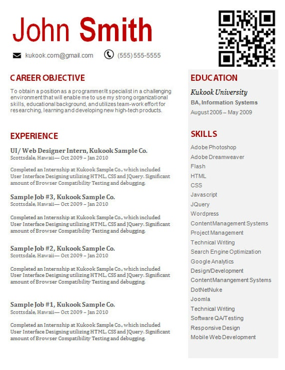 resume 8 modern and creative resume template with qr code