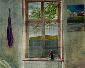Bedroom Window Rumpled Sheets Books Cat Flower Original Framed Watercolor Art You Can See the Stars From Here DelPesco