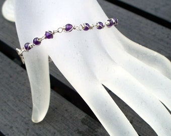 Amethyst Bracelet, February Birthstone, Argentium Sterling Silver Wire Wrapped Dark Purple Amethyst Gemstone Bracelet by LoveThemBeads