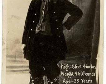 J. G. Tarver giant circus tall Texas sideshow oddity pitch card