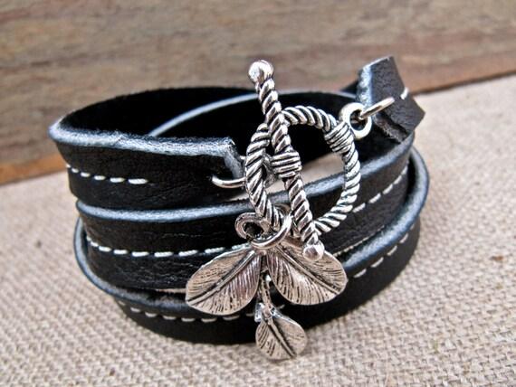 Leather Bracelet Charm Wrap, Silver Leaf & True Black - SALE - see Shop for Coupon Codes...