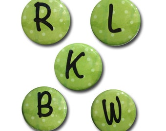 Green Letter Magnet or Pin - Individual Letter Magnet, Green and Black, Alphabet Magnet, Letter Pin, Letter Pinback Button, fridge magnet