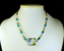Green & Blue Beaded Necklace - Lush Spring Greens Photo Pendant - OOAK Artsy Jewelry