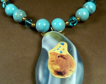 Handmade Turquoise Blue GUINEA PIG Beaded Necklace - The Party Pig Pendant
