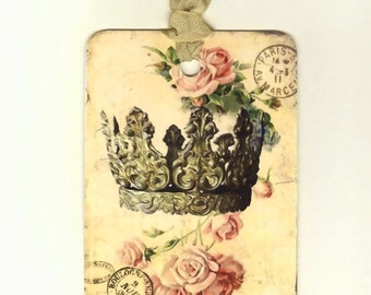 Crown Gift Tags , Vintage Crown , French Crown Tags , French Tags , Crown and Roses , Vintage Tags , Shabby Tags , French Country Style