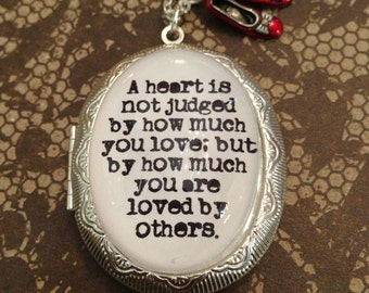 Wizard of Oz Quote Locket Necklace A Heart is Not Judged by How Much You Love Silver Locket Quote Necklace Wizard Of Oz Charm Locket Silver
