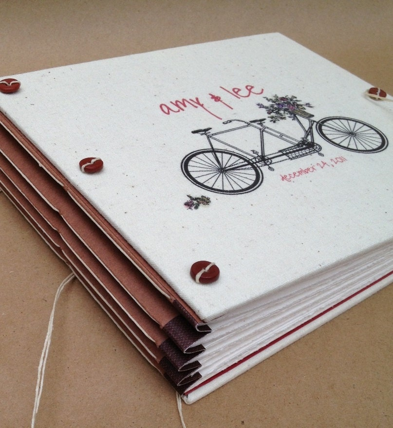 Personalized bicycle wedding guest book or photo booth album for Photo wedding guest book