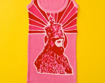 Haile Selassie hand dyed batik women tank tops and tees Eco friendly hand painted pink - festival clothes-