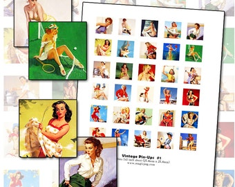 Vintage Pin Up Art Inchies digital collage sheet 1x1 inch square 25mm retro cheesecake saucy naughty ooh la la