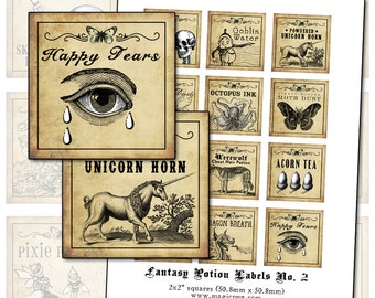 Antique Fantasy Potion Labels II 2x2 inch digital collage sheet inchies 50mm square moth unicorn tears werewolf dragon acorn octopus