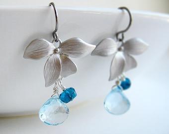 Blue Topaz Earrings - December birthstone with silver flower, apatite and genuine blue topaz gemstone, bridesmaid gift - Dogwood Flower