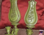 Dart Taper Candle Holders Set of 2 Vintage Wall Sconces 1966