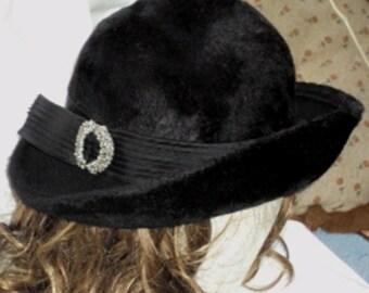 Martelle Faux Brimmed Black Fur Felt Hat Vintage 1960s W Germany Union Label