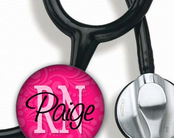 Stethoscope ID Tag - Personalized Name - Pink Textured RN LPN other titles
