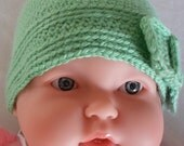 Beanie Hat for Newborn Baby Girl Crocheted in light green