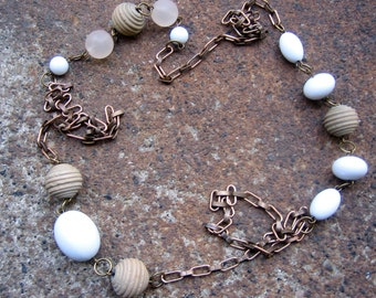 Eco-Friendly Statement Necklace - Cottage at the Beach - Recycled Vintage Brass Chain and Pale Wood and White Plastic Beads
