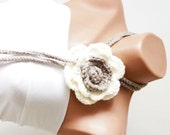 Handmade Beige Crochet leaf and Cream, beige Rose Flower Lariat, Scarf