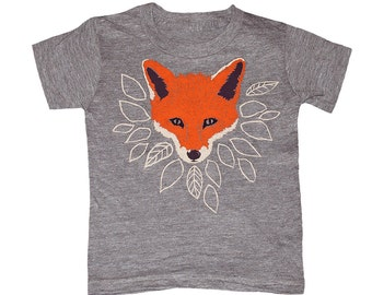 KIDS Fox T-shirt - Boy Girl Youth Toddler Children Tee Shirt Cute Orange Forest Nature Fantastic Mr Fox Animal What Would The Fox Say Tshirt