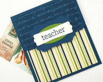 Teacher Gift Card Holder - Christmas Gift, Teacher Appreciation Card - End of School Year Teacher Gift Card Holder - Teacher Thank You Gift