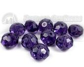 Purple, 12mm, Faceted Rondelle, 10 Pieces, 8GL13-0018