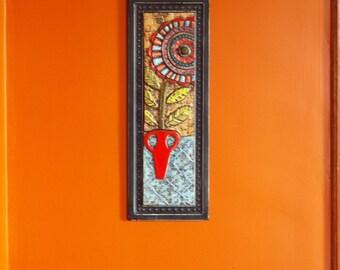 Mosaic Wall Art Mosaic Art Tile Wall Art Ceramic Wall Art Floral Mosaic Bloom in Red Vase Clay Tile Wall Art Colorful Boho Art Vertical Art