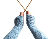 Soft Blue Fingerless Gloves