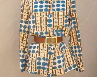 70s novelty print shirt / blue brown ivory / polka dot op art long sleeve polyester button up shirt / med
