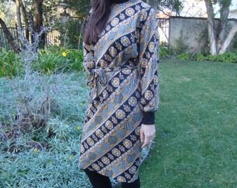 Vintage I. Magnin Printed Dress S/M