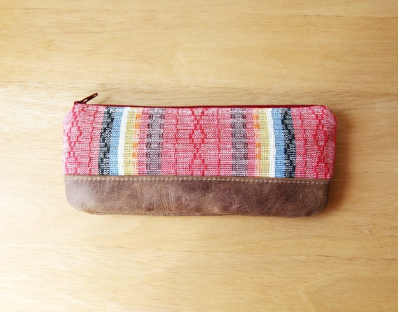 RESERVED. Pencil Pouch in Southwestern Handwoven Cotton and Leather