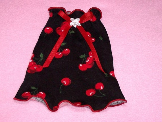 Pet Clothing Inventory Clearance Red Cherries on Black XSmall ALL DONE