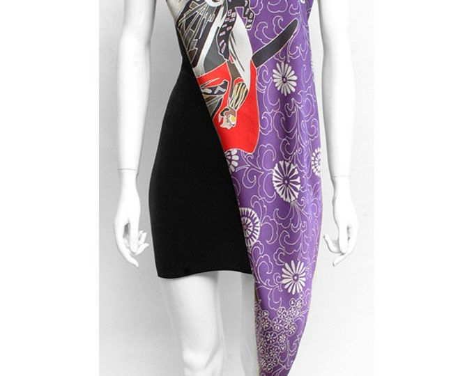 Samurai Scarf, Hand Painted, Japanese Samurai, Puple scarf, wearable art clothing, Unique gift ideas, one of a kind scarf, flower scarf