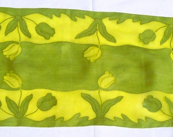 Vintage LIME ORGANDY APPLIQUE Sheer Runner 2 Placemats