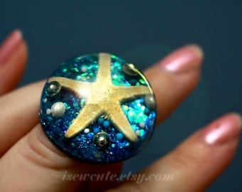 Resin Ring, Mermaid Treasure Ring - Real Starfish, Glitter, & Pearls - Unique Giant Beach Ocean Theme Real Seashell Ring - Summer Jewlery