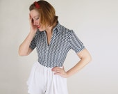 SALE 40s Style 1970s Nylon Knit Romper with Gingham Top & White Pleated Full Shorts S/M