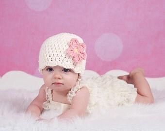 Newborn Baby Girl Hat Newborn Baby Hat Cream Baby Hat Flapper Beanie Flapper Hat Pink Flower Newborn Photography Prop Photo Prop Cute