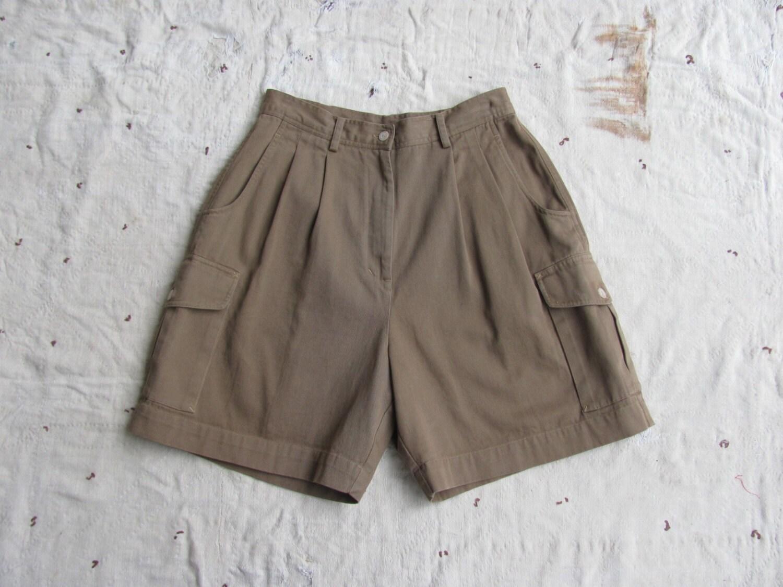 Vintage 1980s High Waisted British Khaki Cargo Shorts M L