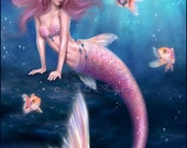 Aurelia Goldfish Mermaid Art Print