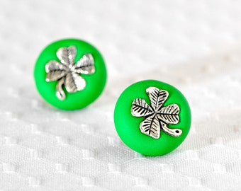 Lucky Clover Earrings Summer Fashion Jewelry in Grass Green Polymer Clay. Posts are Surgical Stainless Steel. Great for Wedding Parties