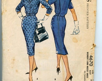 McCall's 4670 Vintage 1950s Dress Pattern has slim Wiggle Skirt, Button Front Bodice with Big Notched Collar and Overback, Sz 16 Bust 36